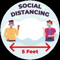 Corona Social Distancing Floorgraphics - round (5 stuks)