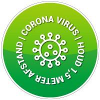 Corona vloersticker - rond - ontwerp 7 (5 stuks)