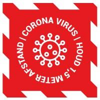 Corona vloersticker - vierkant - ontwerp 7 (5 stuks)