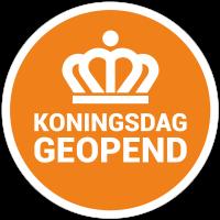 Koningsdag geopend sticker - Reclame ABC