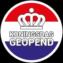 Koningsdag geopend sticker - Nederlandse vlag