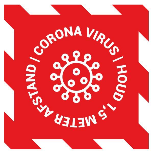 Corona vloersticker vierkant bestellen - Ontwerp 7 | Cororna sticker kopen | Reclame ABC