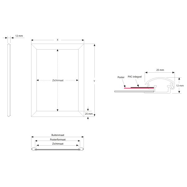 Kliklijst profiel 25 mm (verstek hoeken)