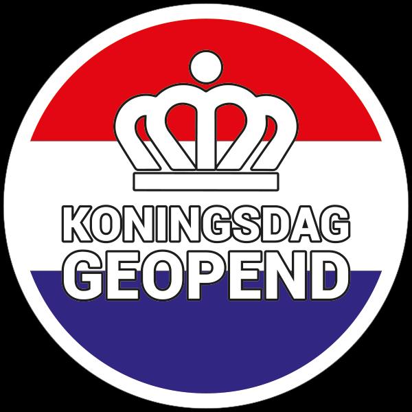 Koningsdag geopend sticker - Nederlandse vlag Reclame ABC