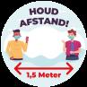 Corona vloersticker houd 1,5 meter afstand - Nederlands - rond | Cororna sticker kopen | Reclame ABC