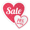 Hart sale korting sticker bestellen   valentijn sticker kopen
